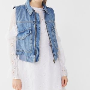 Vintage Jackets & Coats - VINTAGE CROPPED LIGHT WASH DENIM VEST